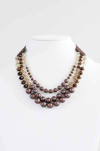 Matte & Crystal Three Layer Necklace