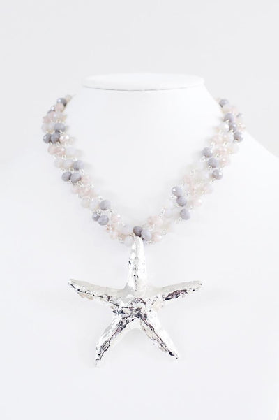 Crystal Chain Starfish Pendant Necklace - Glitz & Ears