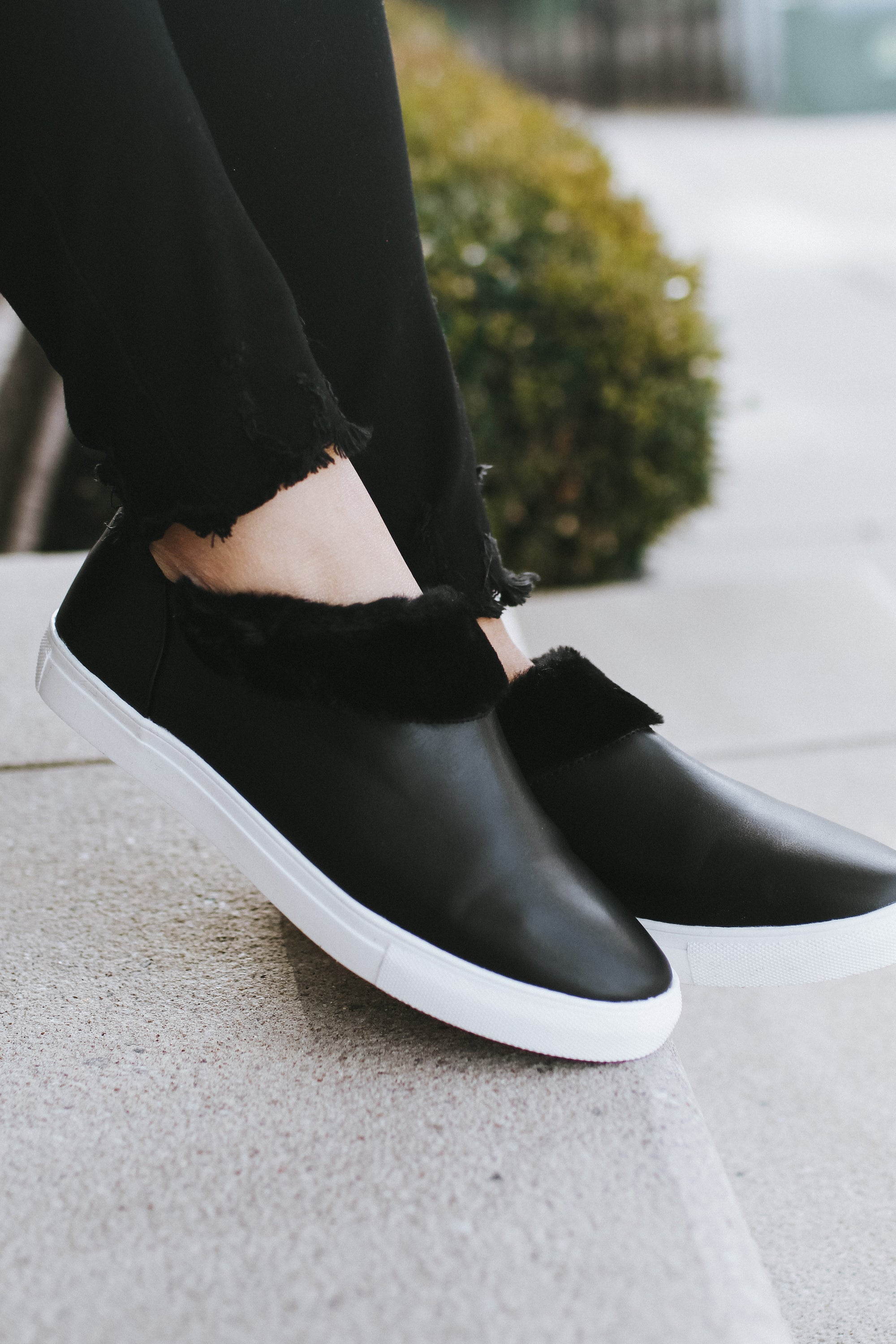 Leather Slip On Fur Inside Sneaker