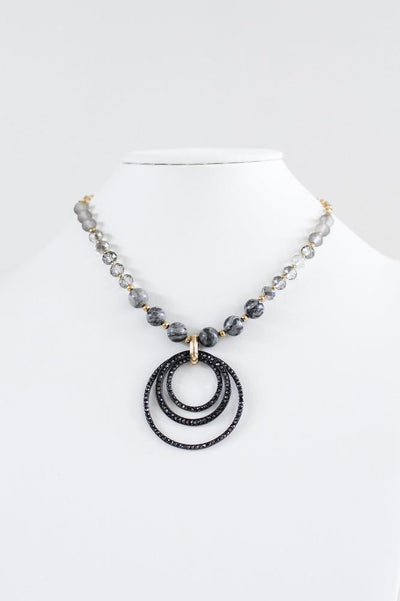 Bead Chain Multi Circle Pendant Necklace - Glitz & Ears