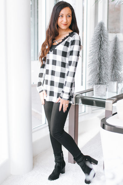 Buffalo Check X Neckline & Lace Top