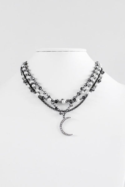 Pearl & Bead Layered Chain Moon Pendant Necklace