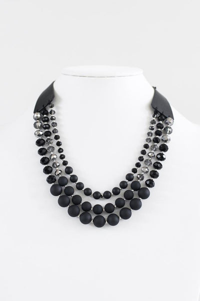 Matte & Crystal Three Layer Necklace-Glitz & Ears Boutique
