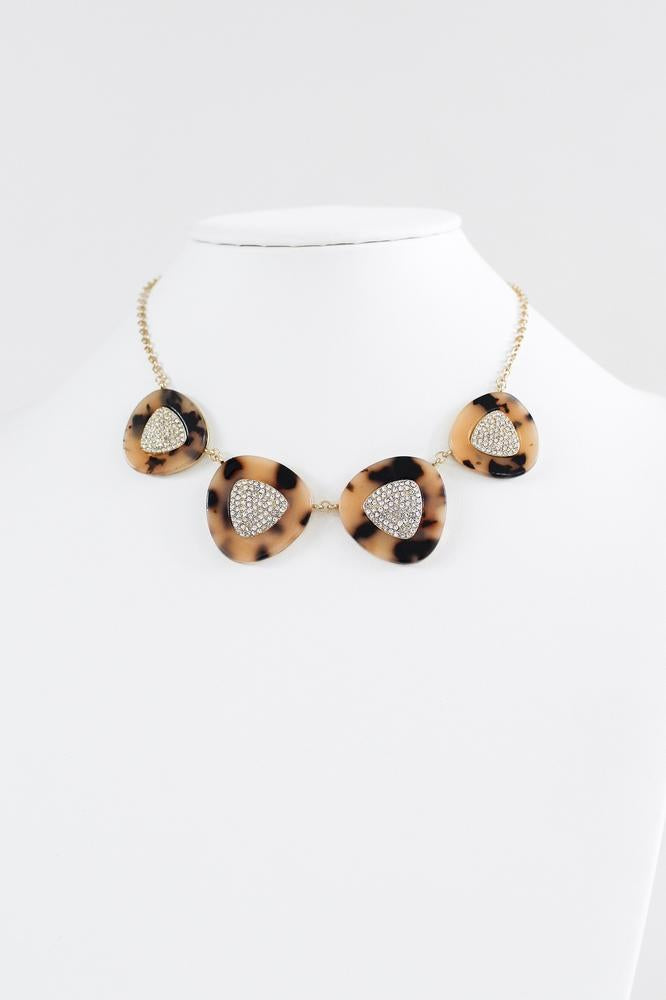 Leopard Marble Triangle Necklace