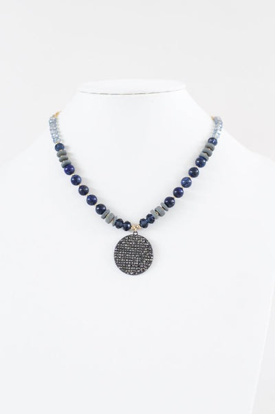 Crystal & Bead Chain with Pendant Necklace - Glitz & Ears