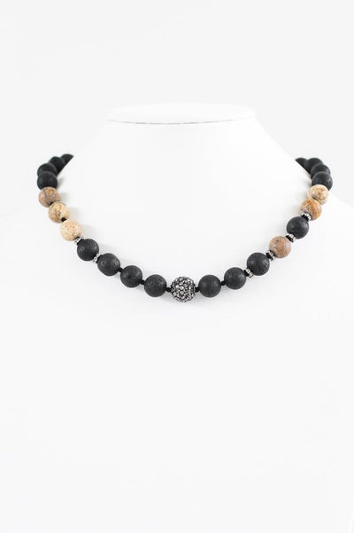 Wood Bead Strand Shamballa Middle Necklace-Glitz & Ears Boutique