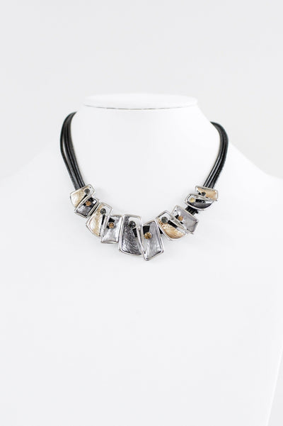 Multi Strand & Two-Tone Metal Scoop Necklace