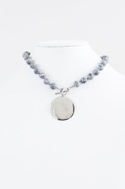 Metal Plate Marble Beads Necklace-Glitz & Ears Boutique