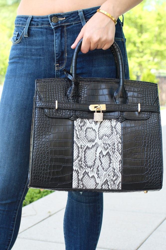 Alligator Print Rhinestone Lock Purse - Glitz & Ears