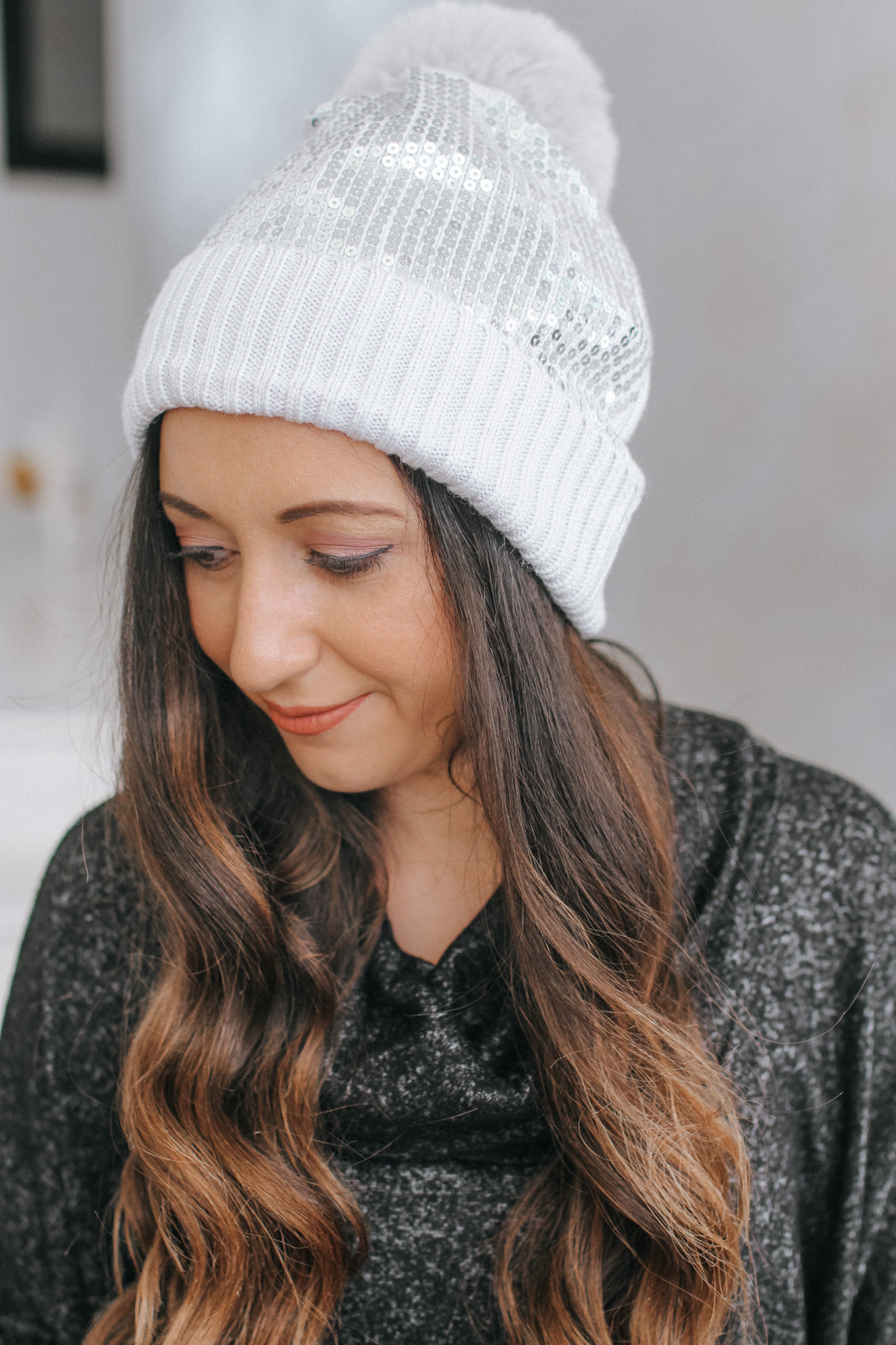 Lined Fold Sequin Beanie