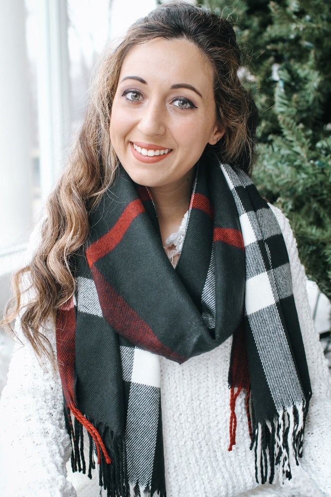 Plaid Oversized Fringe Scarf-Glitz & Ears Boutique