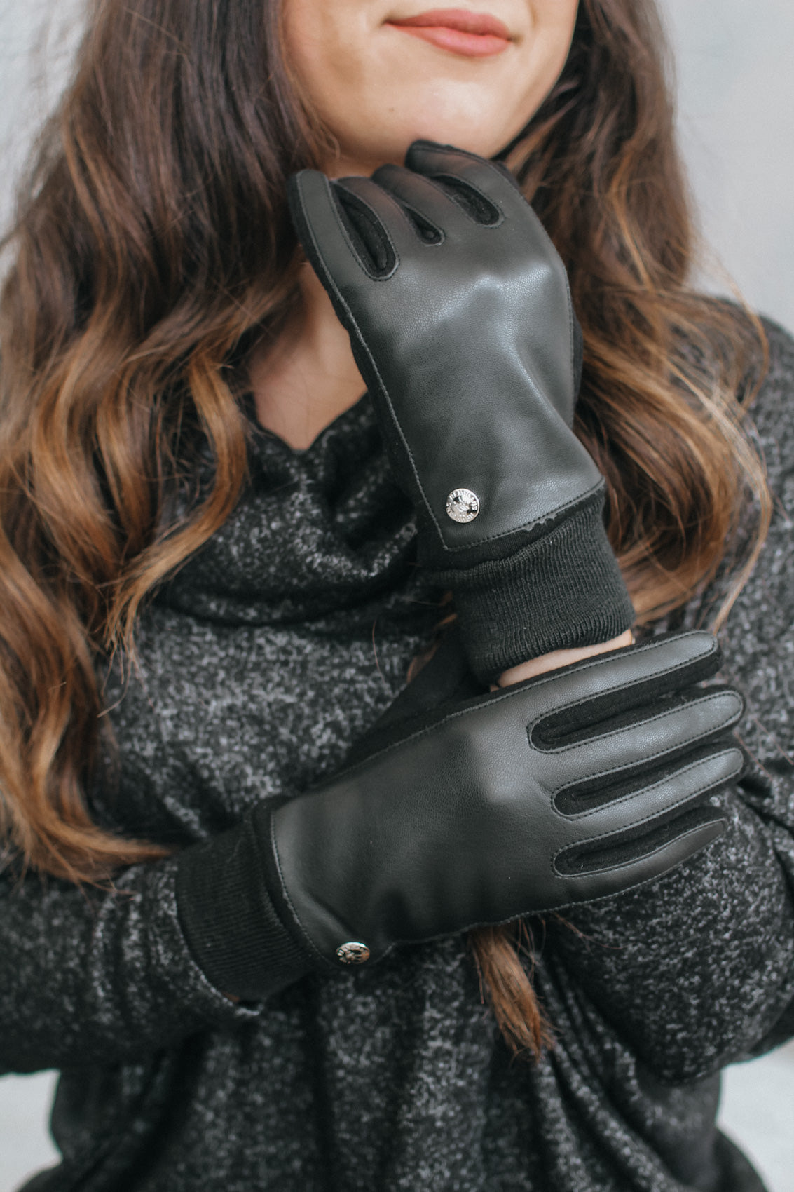 Fabric Wrist Leather Top Glove