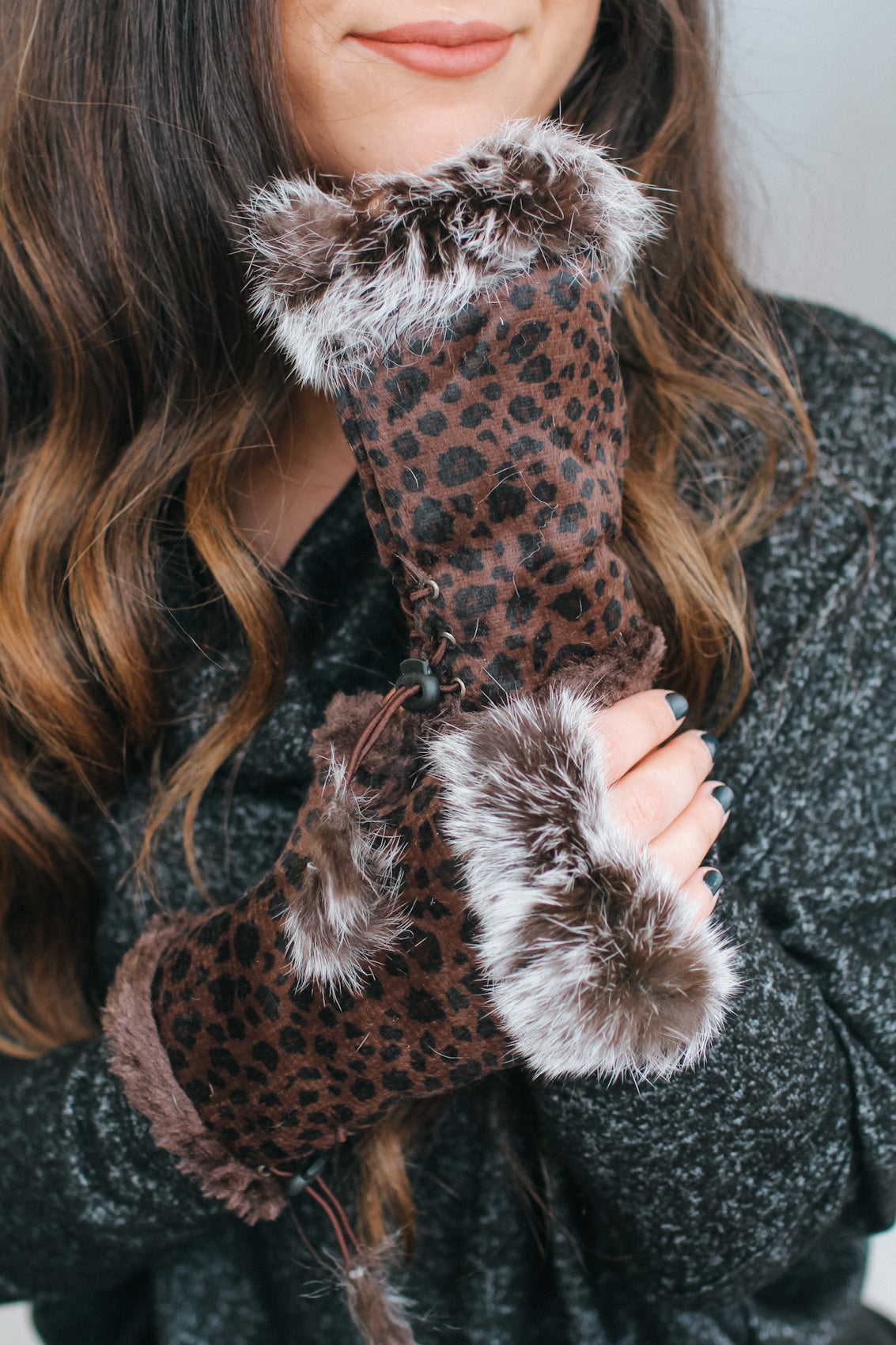 Suede Leopard Fur Trim Fingerless Glove