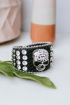 Stone & Stud Alt Skull Middle Leather Bracelet
