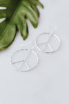 Hammer Metal Peace Sign Earring