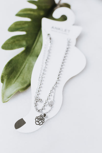 Dainty Two Chain Cutout Rose & Stone Anklet