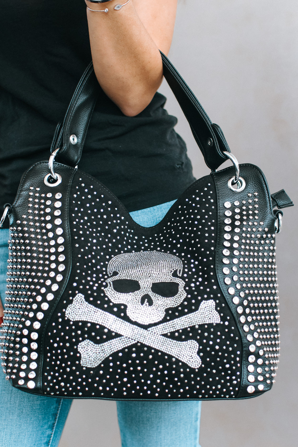 Two Handle Skull & Stud Purse