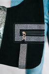 Half Metallic & Rhinestone Trim Zipper Purse