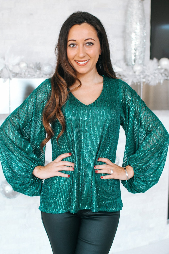 All Sequin Balloon Sleeve Top