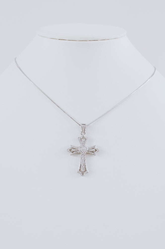 Sm. Heart Open Cross Necklace