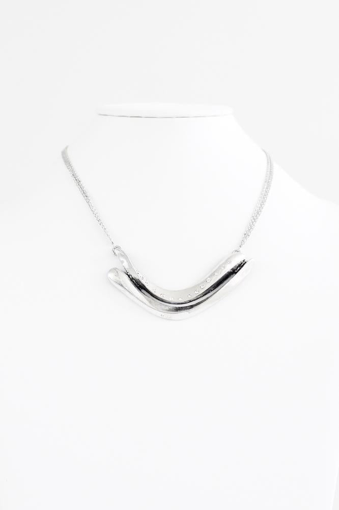 Two Curved Bars with Rhinestone Line Necklace