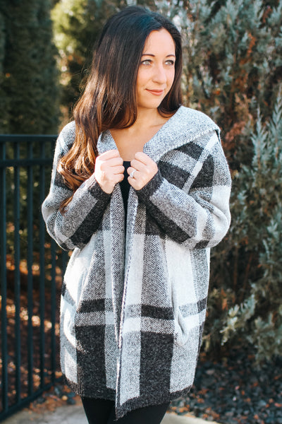 Hooded Tight Knit Checker Cardigan