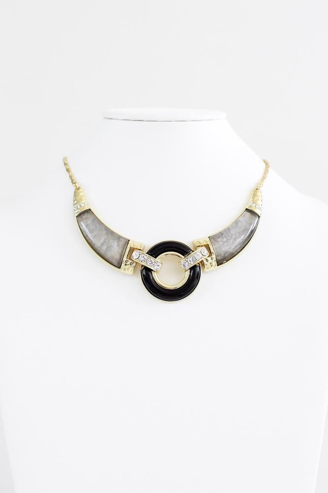 Marbled Open Circle Necklace