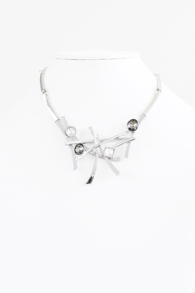 Overlapped Bars & Stone Necklace