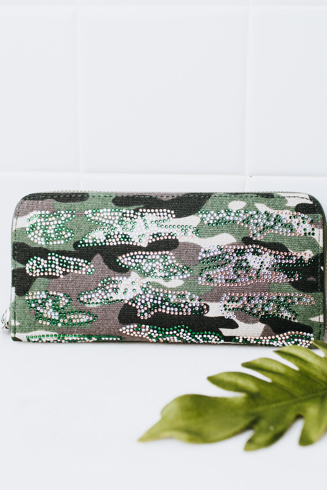 Canvas & Rhinestone Camo Wallet