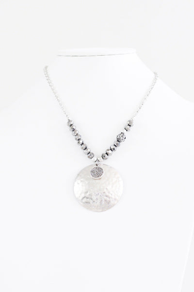 Hammer Disc & Bead Sides Necklace - Glitz & Ears