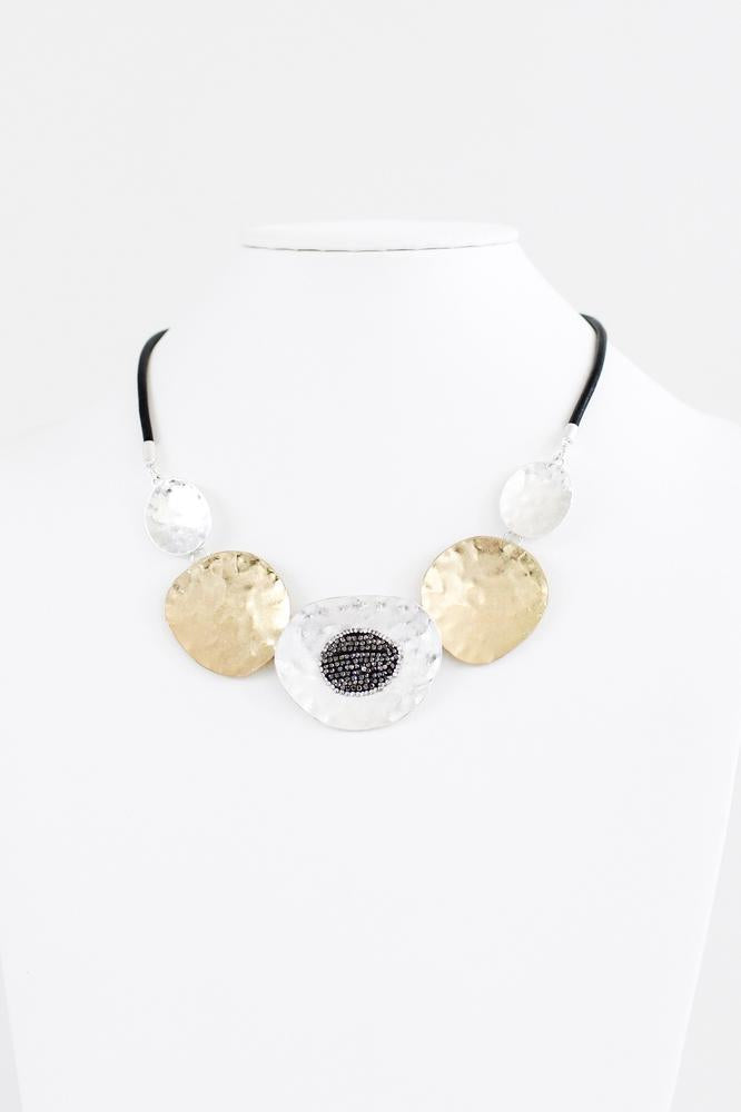Two-Tone Hammered Disc & Rhinestone Necklace
