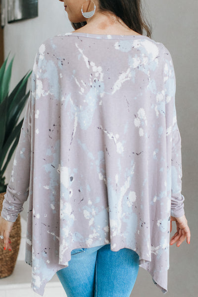 Splatter Tie Dye Sharkbite Hem Top