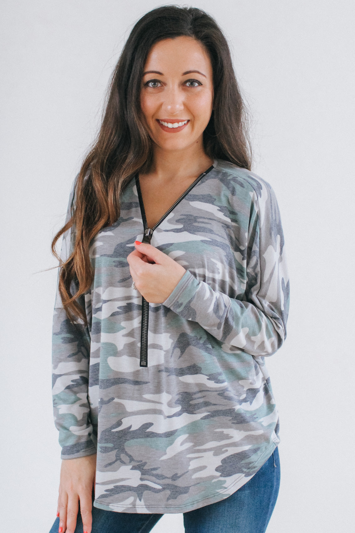 Camouflage Print Zipper Top