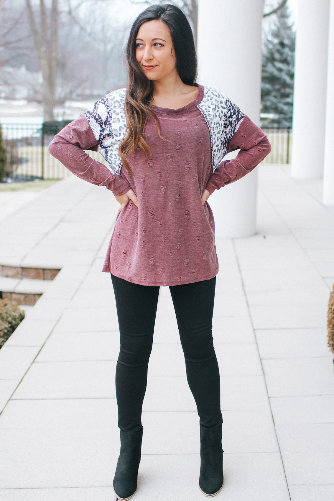 Leopard Distressed Neck & Hem Sweater