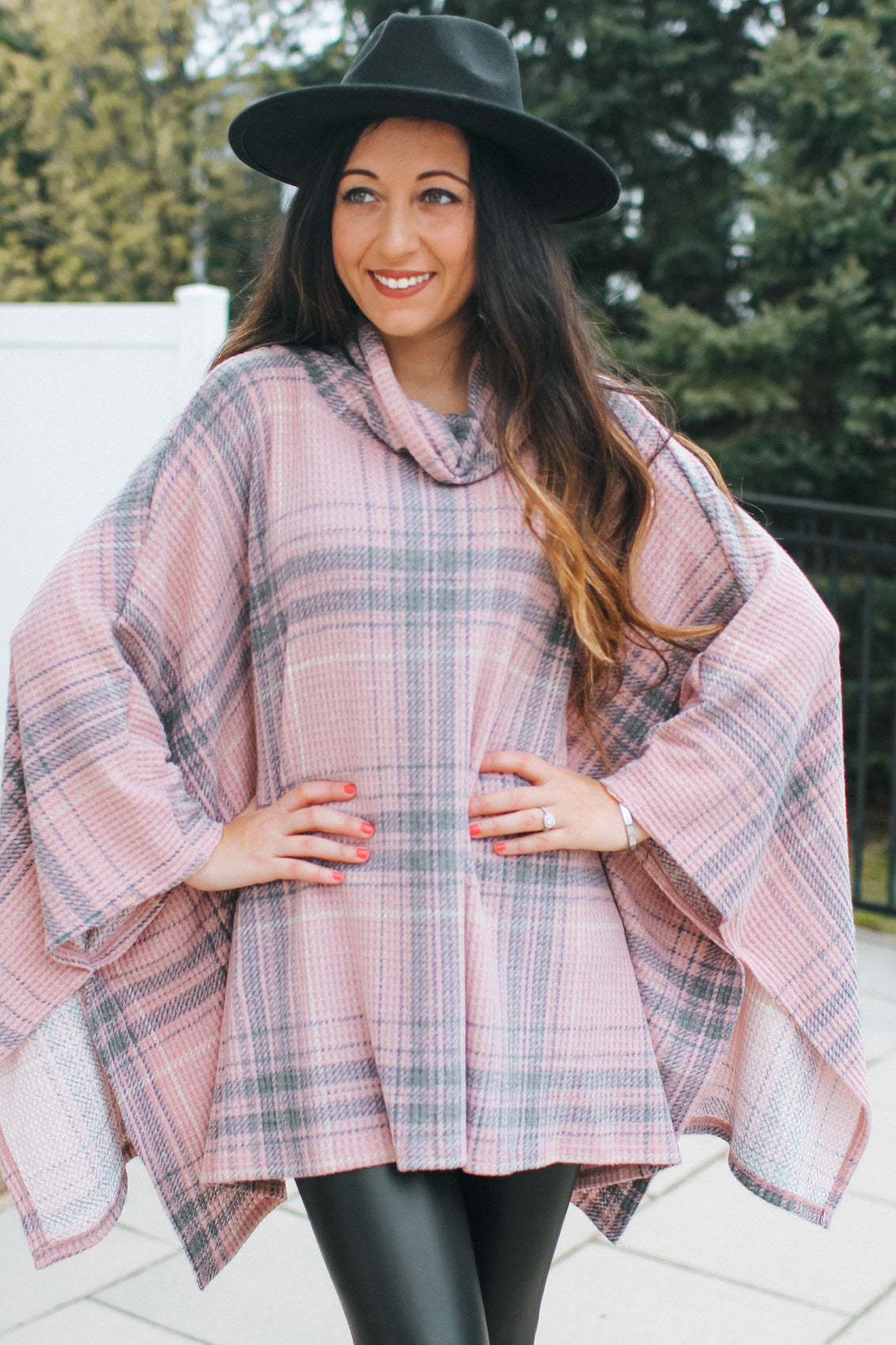 Thin Plaid Cowl Neck Poncho