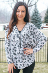 Two Tone Spot Print Zipper Top