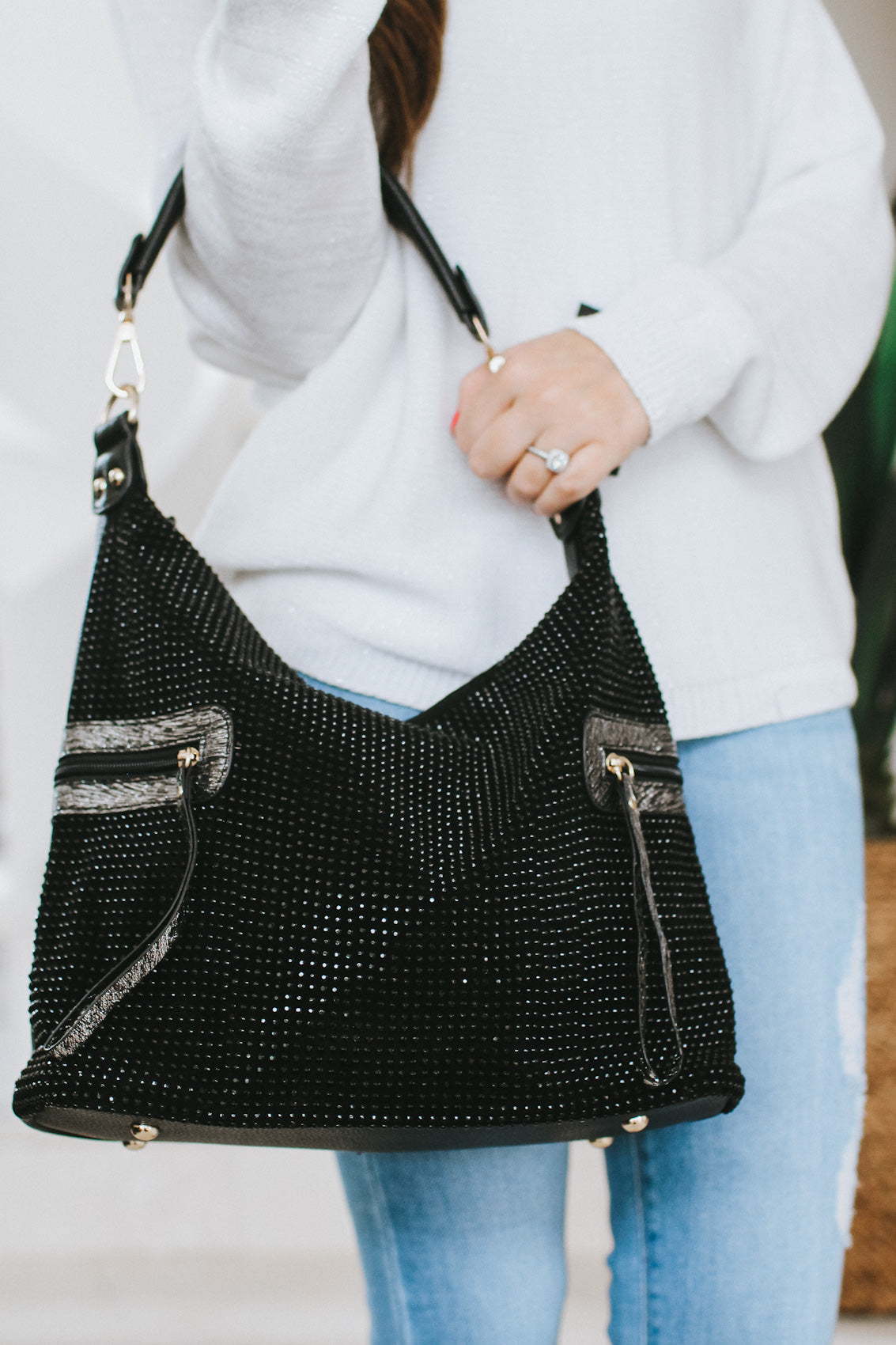 All Rhinestone Zip Accent Side Purse