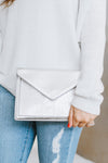 Metallic Flap & Rhinestone Envelope Clutch