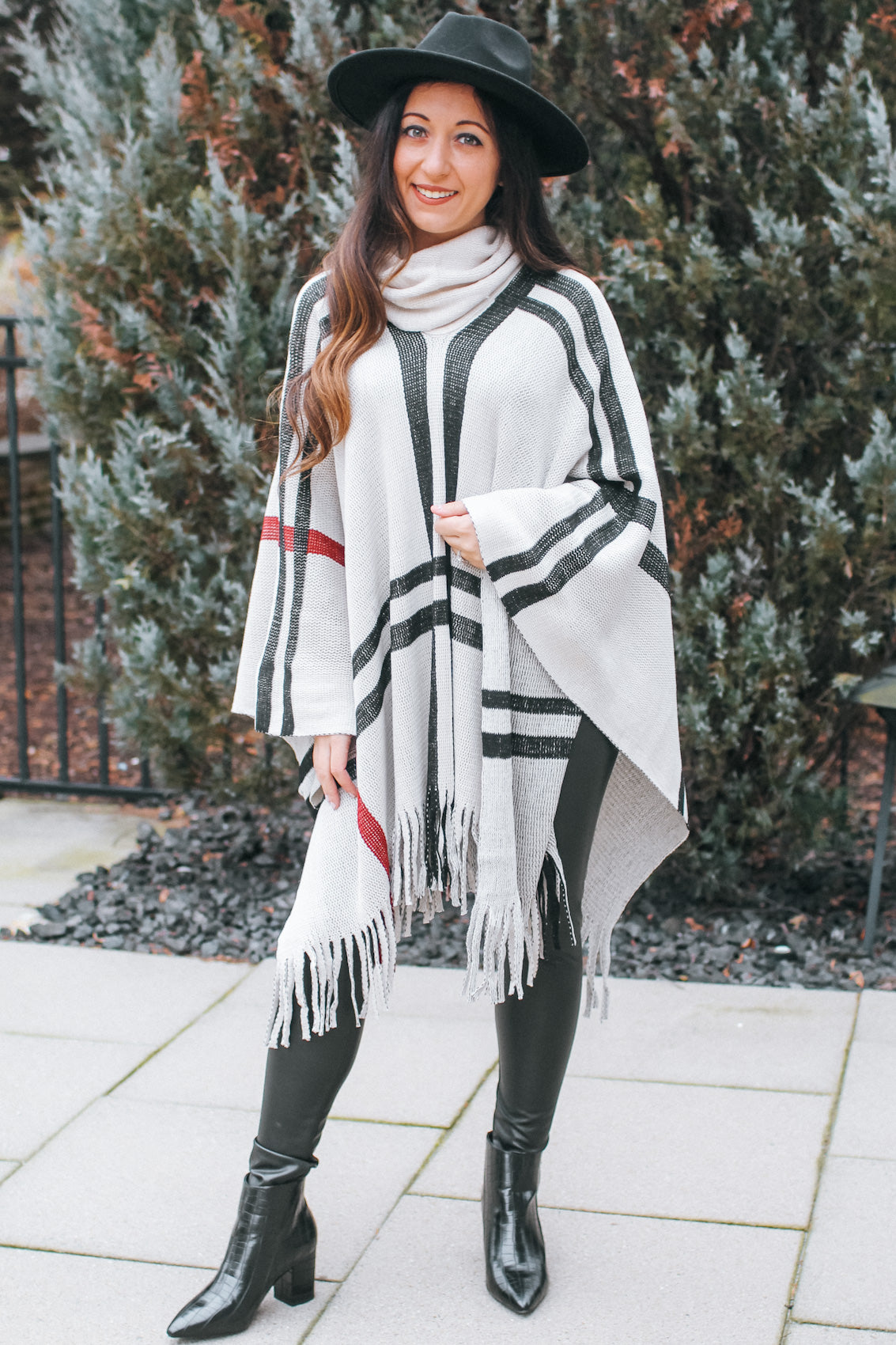 Cowl Neck Plaid Fringe Trim Poncho