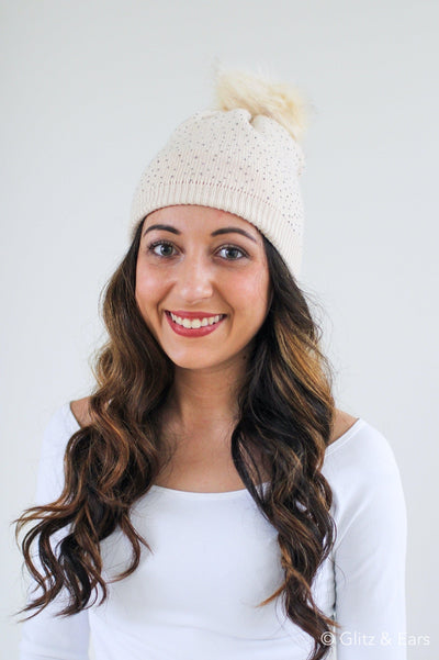 All Rhinestone Knit Beanie - Glitz & Ears