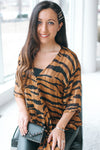 Tiger Print Metallic Thread Tie Blouse