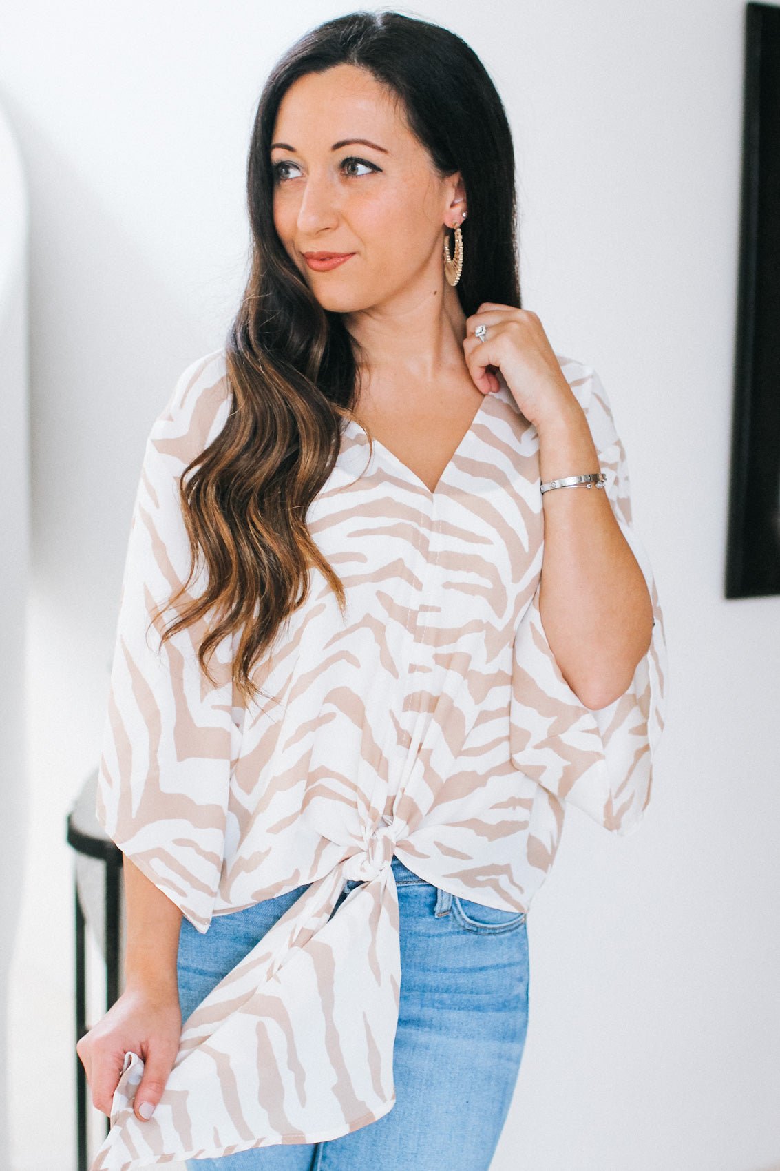Two Tone Tiger Print Tie Blouse