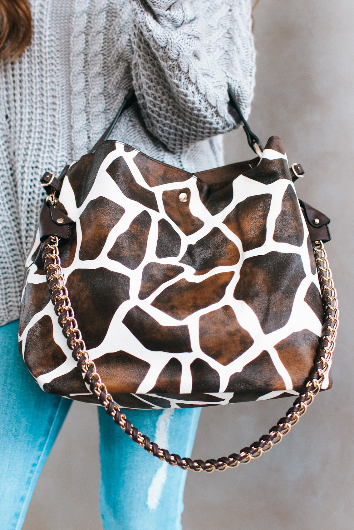 Animal Print One Handle & Chain Purse