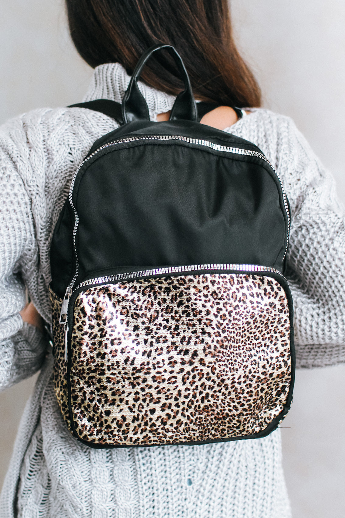 Metallic Animal Pocket Nylon Backpack