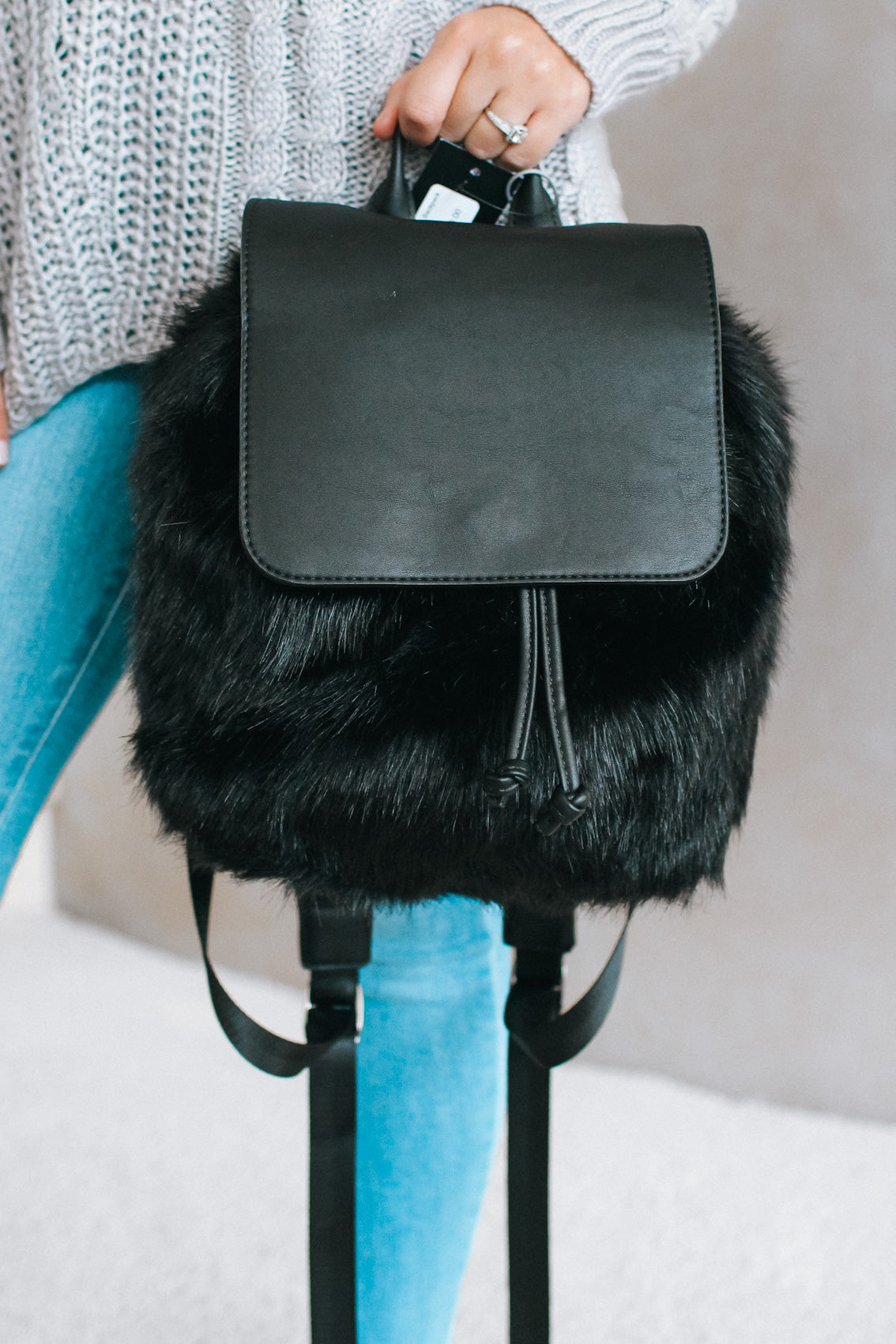 Leather Flap Faux Fur Backpack