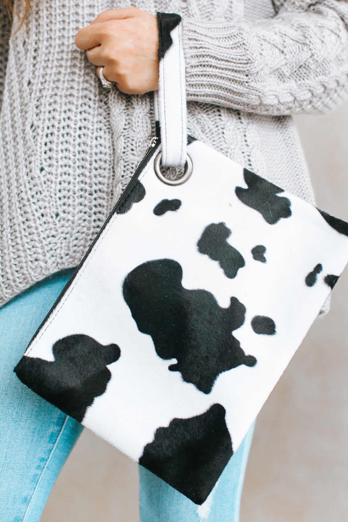 Oversized Short Hair Cow Wristlet