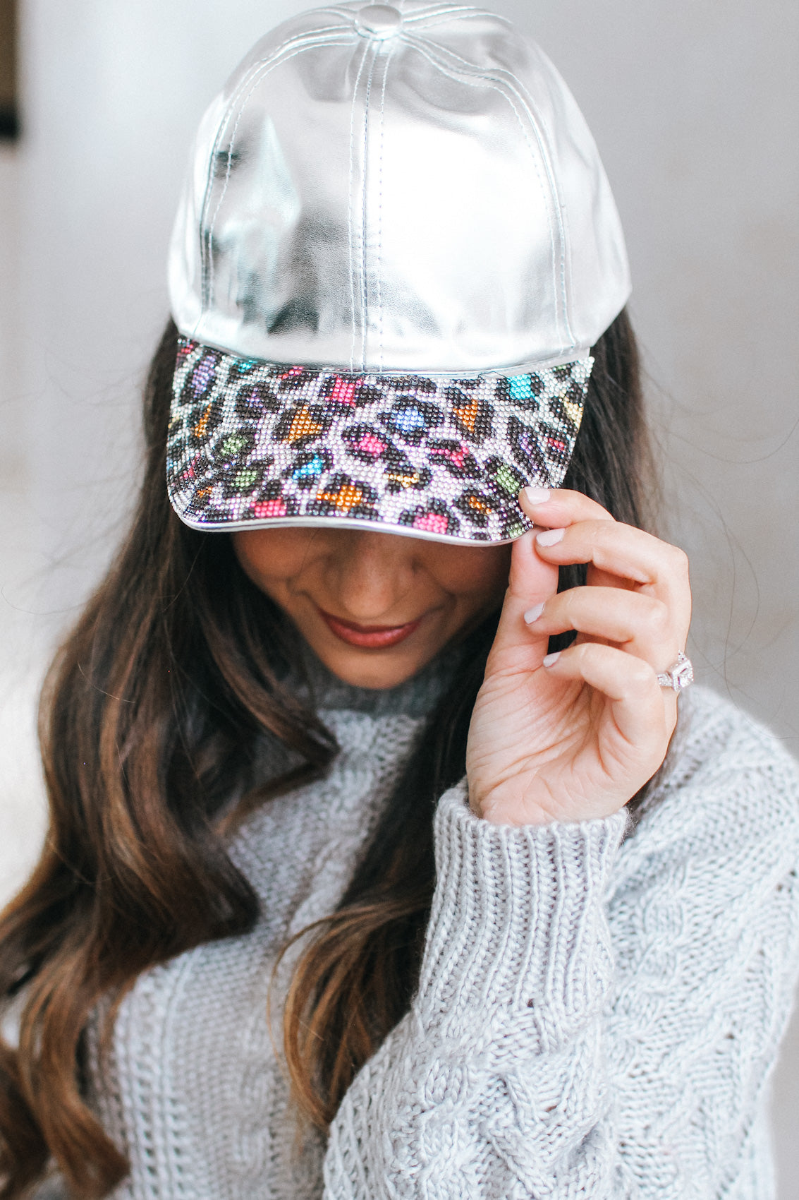 Leopard Rhinestone Bill Metallic Baseball Hat