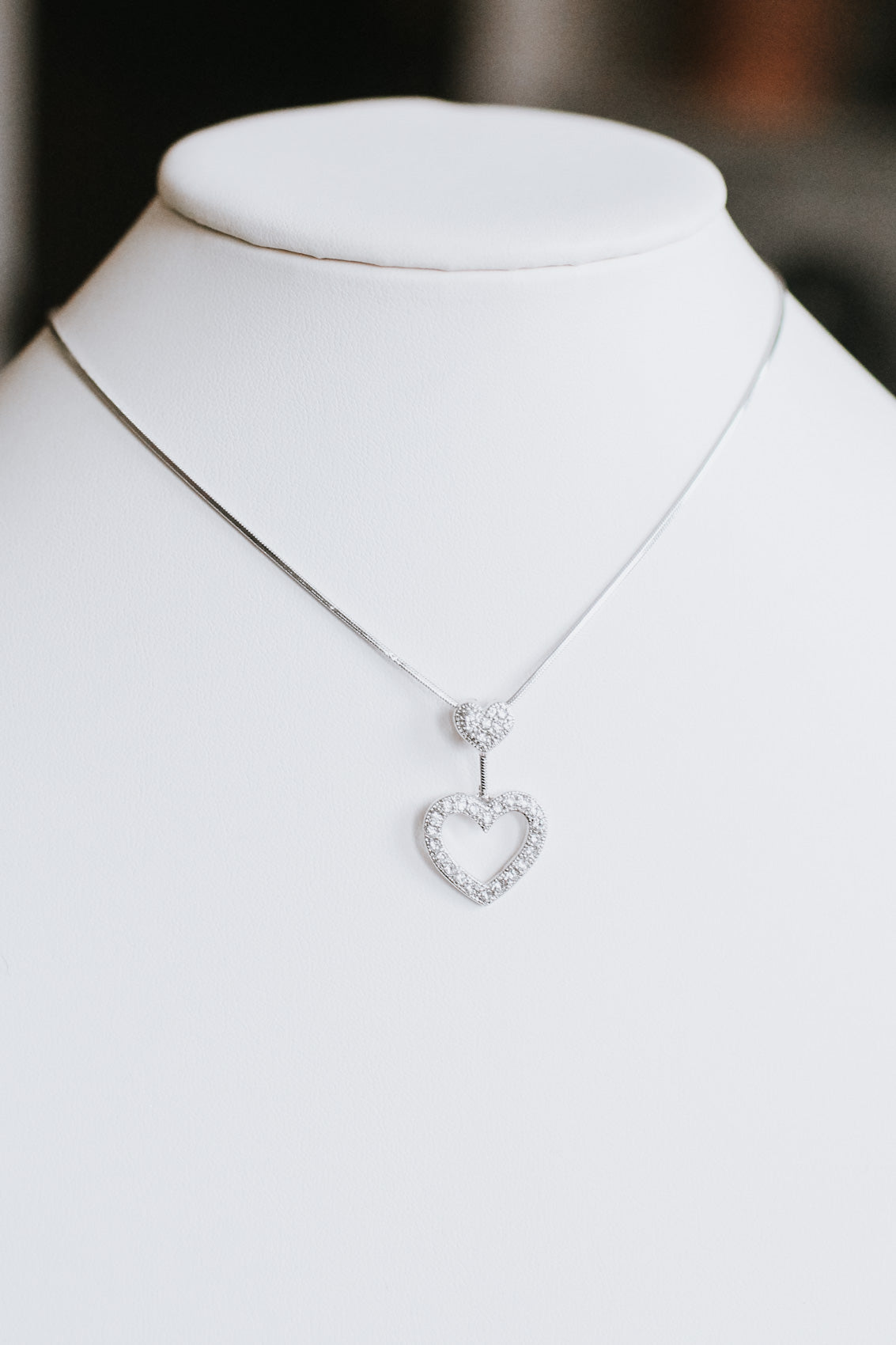 Small Heart & Open Heart Pendant Necklace