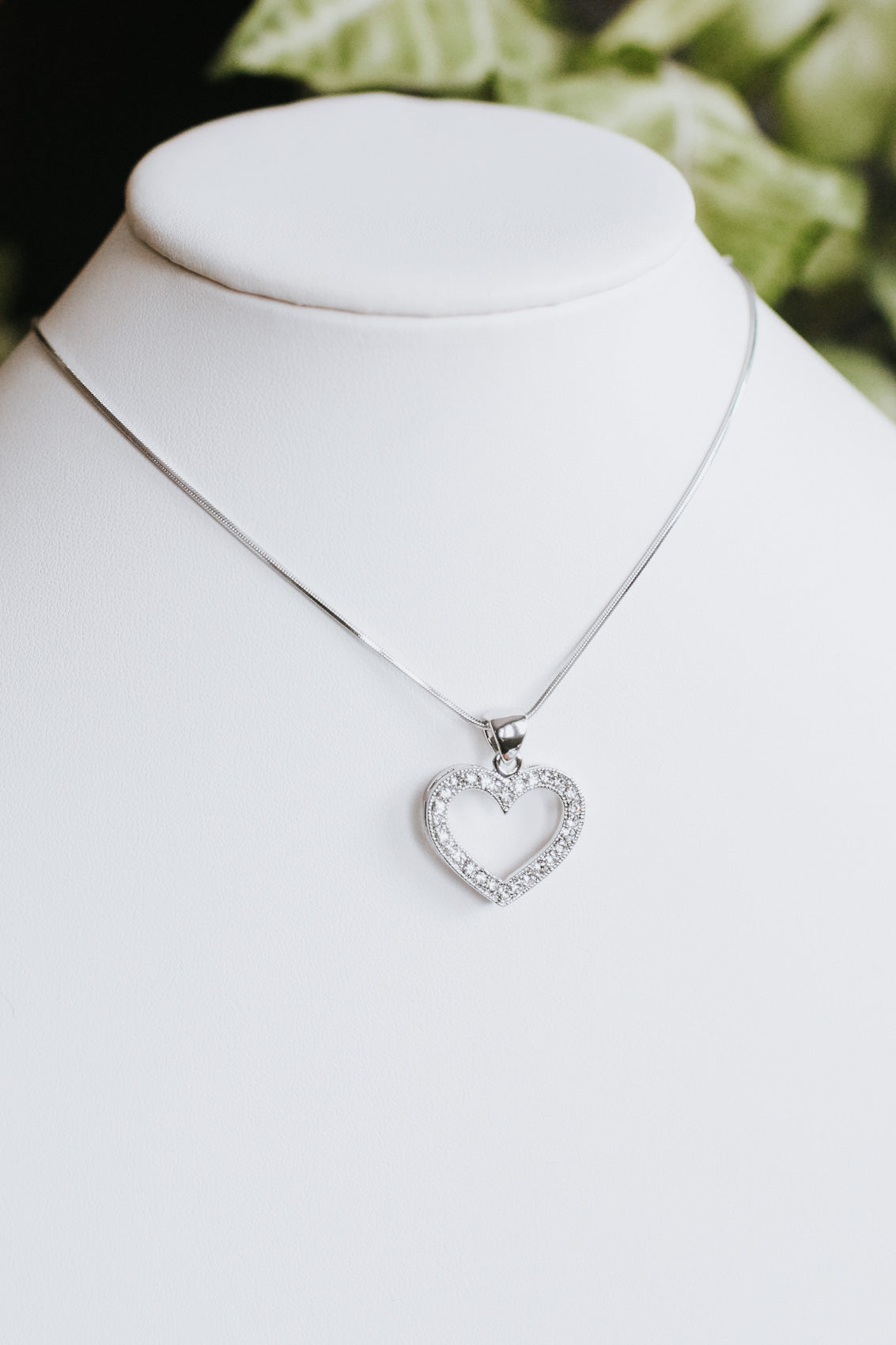 Boxy Cut Out Rhinestone Heart Necklace