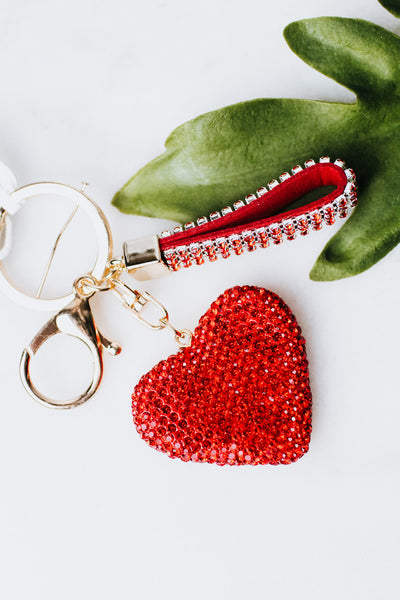 All Rhinestone Heart & Key Ring Keychain